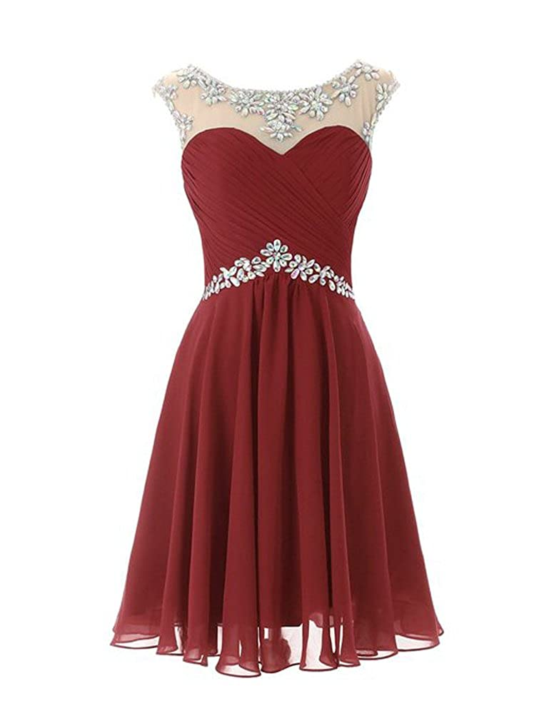 Singmo Womens Short Prom Dresses Homecoming Dress Juniors Graduation Dress Burgundy US24w