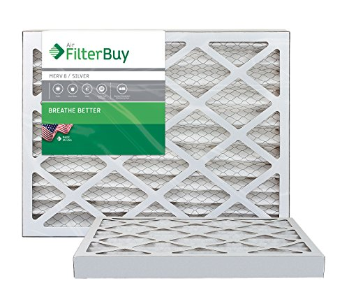 AFB MERV 8 Pleated AC Furnace Air Filter, Silver (2-Pack), (18x24x2) Inches