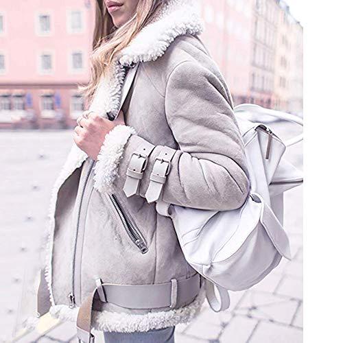 1a2512b0462 Lazzboy Womens Jacket Coat Suede Fleece Lined Biker Style Lapel Thick  Belted Zipper UK 8-20 Oversized Plus Size  Amazon.co.uk  Clothing