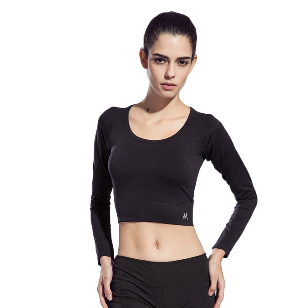 d5a831dfad8 Made of 90% polyester and 10% polyurethane, breathable, elastic, soft and  smooth, Sweat absorption and flash drying. Long sleeve, bare midriff  style,3 solid ...