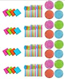 Party Essentials Brights Assorted Neon: 160- 6 inch Plates, 192 Beverage Napkins and 192 Place Settings of Disposable Extra Heavy Duty Full Size Cutlery (576 pieces); Bundled by Oasis MercantileÊ (12)