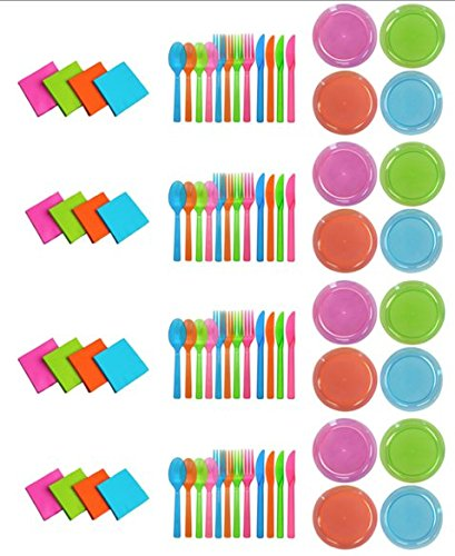 Party Essentials Brights Assorted Neon: 160- 6 inch Plates, 192 Beverage Napkins and 192 Place Settings of Disposable Extra Heavy Duty Full Size Cutlery (576 pieces); Bundled by Oasis MercantileÊ (12) by Party Essentials (Image #7)