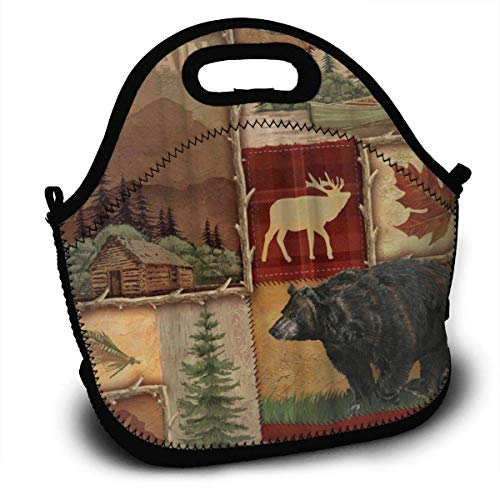 Rustic Lodge Bear Moose Insulated Neoprene Lunch Bag-Removable Shoulder Strap-Reusable Thermal Thick Lunch Tote/Lunch Box/Cooler Bag For Adults,Kids,Women,Men,Teens,Girls,Baby
