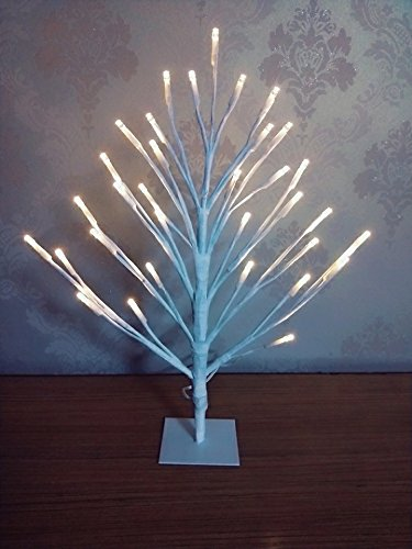 HZENYA 16 Inch LED Plane Tree Table Light, Battery Operated with Timer 8 Hours On, (Warm White LED)