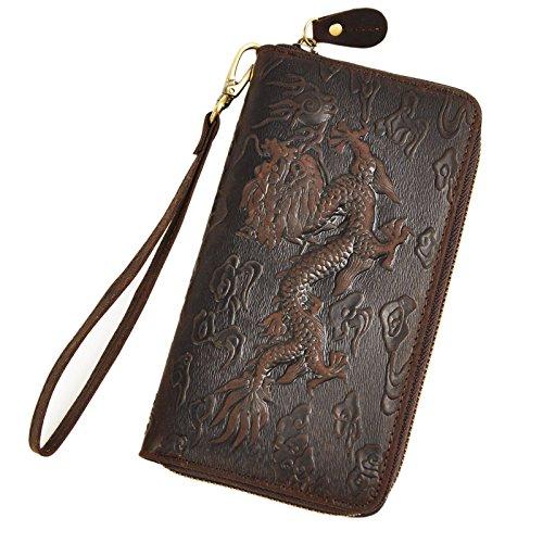 Le'aokuu Unisex Genuine Leather Bifold Wallet Purse Organizer Dragon Embossed (Dark Brown Clutch Bag)