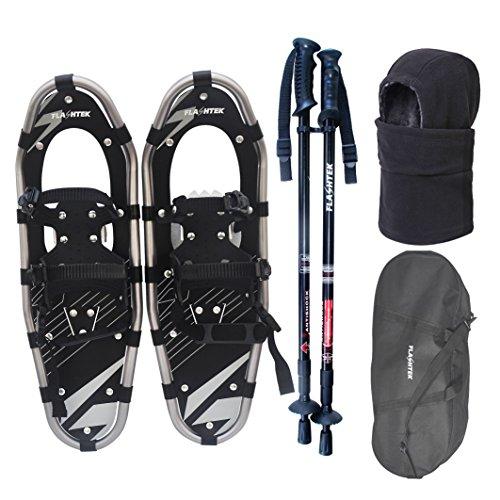 Flashtek Snowshoes for men and women, Light Weight Aluminum Terrain Snowshoes + Pair Anti-Shock Adjustable Snowshoeing Pole + Gaiter/Mask