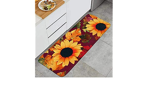Sunflower Print Fabric Floor Runner Rugs Long Kitchen Mat Kitchen Carpet Non-Slip Window Room Outdoor Mats Kitchen Rugs 15.7x47 Inch Extrance Mat