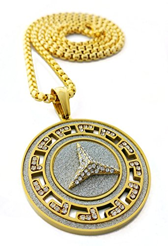 Iced Out Peace Symbol Medallion Pendant Stainless Steel Necklace with 30