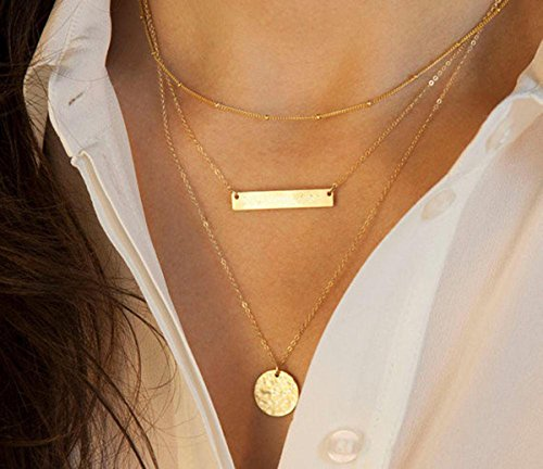 FXmimior Gold Layered Long Choker Necklace Alloy Bar for Women(gold2)