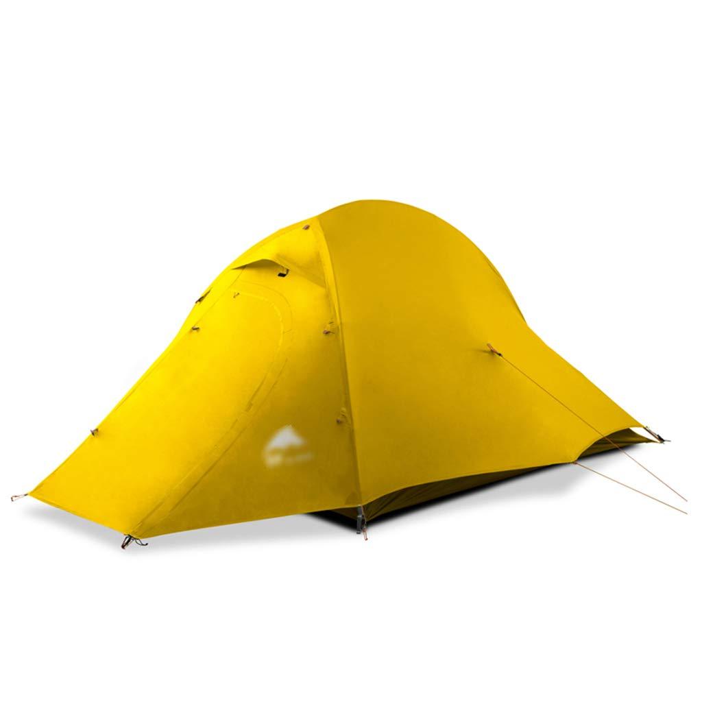 WSGZH Tentes tentes pour Tente de Camping Colehomme Tente de Camping en Plein air Double Saison canopée Double Anti-tempête Pluie Vent Tente de Tente Colehomme (Couleur   jaune, Taille   210  140  119CM) jaune 210140119CM