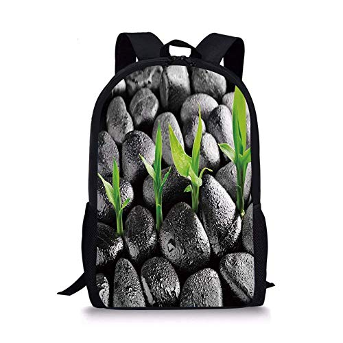 School Bags Plant,Basalt Stones with Bamboo Leaves Sticking Water Droplets Harmony of Nature,Dark Taupe Lime Green for Boys&Girls Mens Sport Daypack