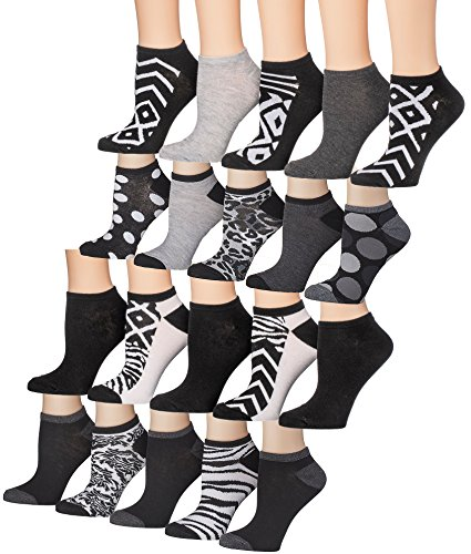 Tipi Toe Women's 20 Pairs Colorful Patterned Low Cut / No Show Socks (Classy Dress Pack)