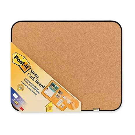 Post-it Sticky Cork Board with Command Fasteners 18 x 22-Inches, Gray and Black 3M 558-BBS