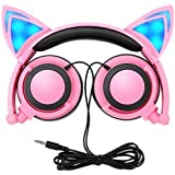 Cat Ear Headphones,DiceKoo Kids Headphones Flashing Glowing Cosplay Fancy Cat Ear Headphones Foldable Over-Ear Gaming Headsets Earphone with LED Flash Light for iPhone 6S,Anroid Mobile Phone (Pink)