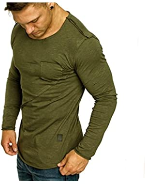 T-Shirts for Men, Sweater Long Sleeve Muscle Button Solid Pure Color Blouse