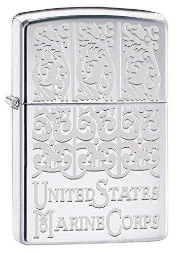 Zippo USMC Engraved High Polish Chrome Pocket (Engraved High Polish)