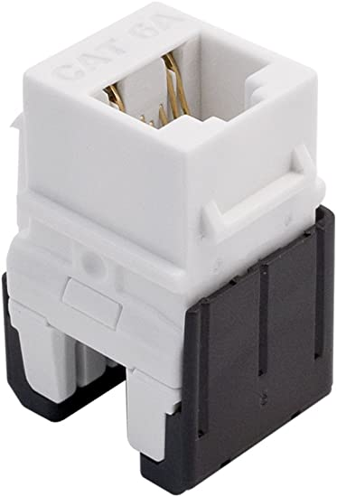 On-Q WP3476WH Cat6 RJ45 Quick Connect Keystone Insert with 110 Punch-Down White