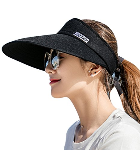 Sun Visor Hats for Women, Large Brim UV Protection Summer Beach Cap, 5.5''Wide Brim (Black)