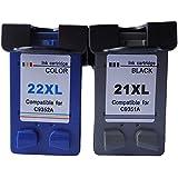 4inx Cartridge Reemplazo para HP 21XL / HP 22XL - Pack de 2 cartuchos de tinta para HP DeskJet Serie - (1xcolor y 1xnegro)