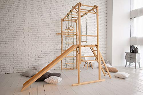 EZPlay Indoor Jungle Gym Sturdy Climbing Playset, Foldable Kids Play Area with Monkey Bars, Climbing Ladder, Slide, Swing Set & Rings, Adjustable Play Structure for Ages 4-10