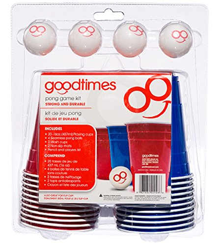 Goodtimes Pong Game Kit-Party Cups with 4 Smiley Face Pong Balls (20 Pack) Perfect for Beer Pong (Beer Pong Mats)