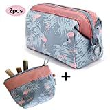 2 Pack Makeup Bags and Coin Purse, Travel Cosmetic Pouch Portable Flamingo Makeup up Case for Women Girls