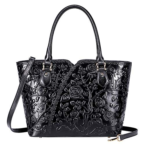 - PIJUSHI Designer Handbags For Women Floral Purses Top Handle Satchel Handbags (22328 Black)
