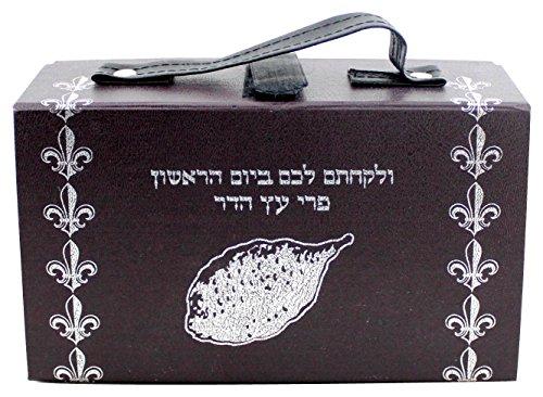 Judaica-Pleather-Etrog-Box-Bag-Case-Sukkot-Silver-Leviticus-Verse