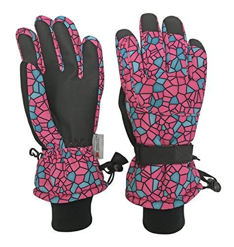 N'Ice Caps Kids Cold Weather Waterproof Camo Print Thinsulate Ski Gloves (Fuchsia/Black Shattered Glass, 3-4 Years)