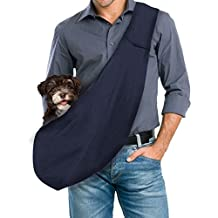 GemPet Hand-Free Reversible Pet Small Dog Sling Carrier Bag (Blue)
