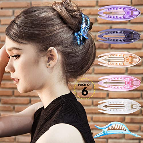 Womens Beauty Accessories - RC ROCHE ORNAMENT Womens French Concord Curved Hair Clip No Slip Strong Grip Comfortable Hold Girls Ladies Beauty Accessory Pin Teeth Clamp, 6 Pack Count Medium Transparent Multicolor