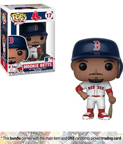 Funko Mookie Betts [Boston Red Sox]: x POP! MLB Vinyl Figure + 1 Official MLB Trading Card Bundle [#017 / 30239]