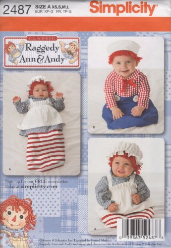 Simplicity Pattern 2487 for Baby's Raggedy Ann & Andy Costume, Size A (XS,S,M,L) - Raggedy Ann Costume Pattern