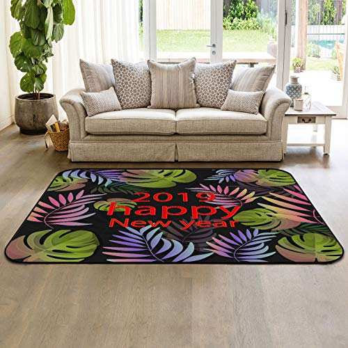 Tropical Leaf Collection Area Rug Indoor Carpets 4'x6' Happy New Year 2019 Floor Mats for Kids Room Living Room Home Decor (Best Budget Vacuum Cleaner 2019)
