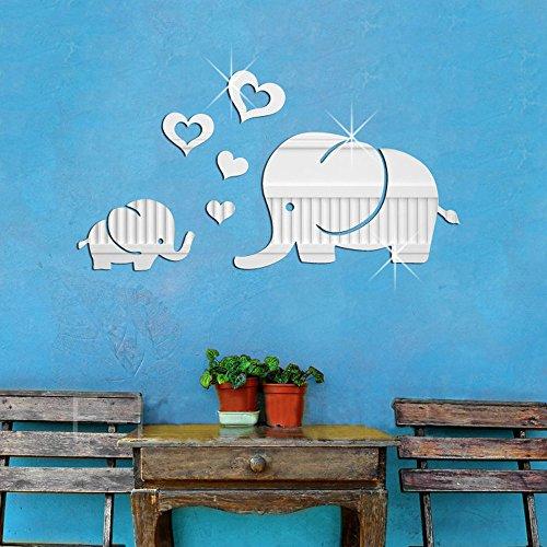 Lovely Elephant Hearts Cartoon Animal Wall Decor Art for Kids Room 3D DIY Acrylic Mirror Effect Wall Sticker Living Room Nursery Decorative Decals Home Decor Removable (Silver) (Wall Mirror Elephant Decal)