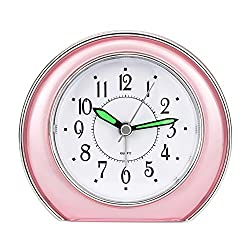 Super Silent Analog Alarm Clock,Non Ticking Analog Alarm Clock with Nightlight Function,Simple to Set Clocks,Super Silent Alarm Clock with Snooze,Battery Powered,Small (pink)