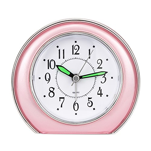 Accent Clock (Super Silent Analog Alarm Clock,Non Ticking Analog Alarm Clock with Nightlight Function,Simple to Set Clocks,Super Silent Alarm Clock with Snooze,Battery Powered,Small (pink))