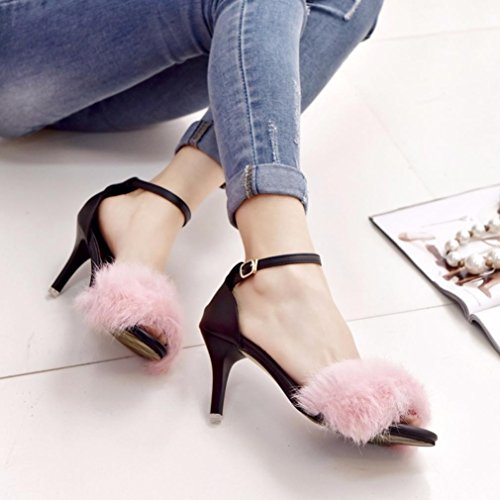 Jamicy Women Ladies Summer Fashion Fluffy Platform High Heel Sandals Shoes Pink Y0EQk1Af