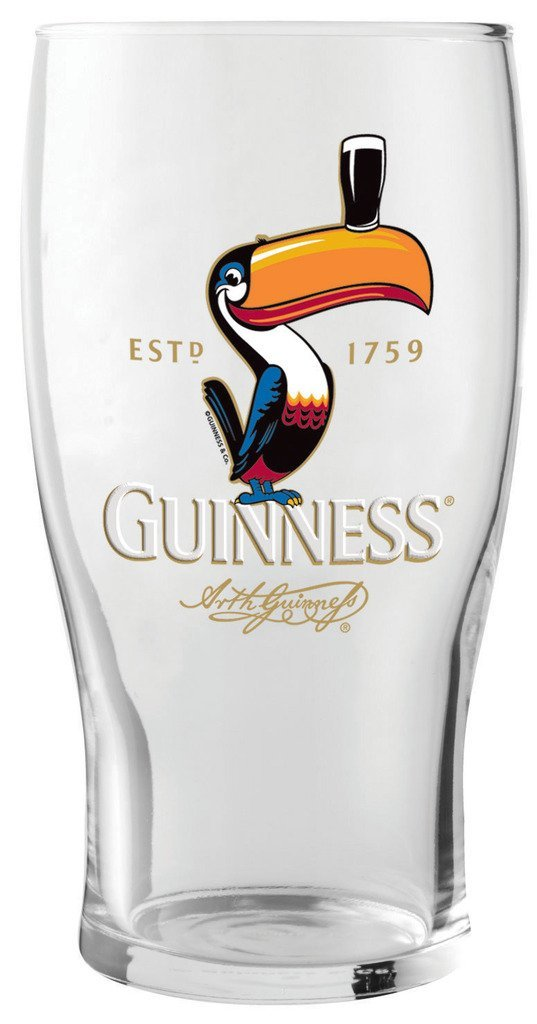 Guinness Toucan Pint Glass, 1 pack Guinness Official Merchandise GNS2642