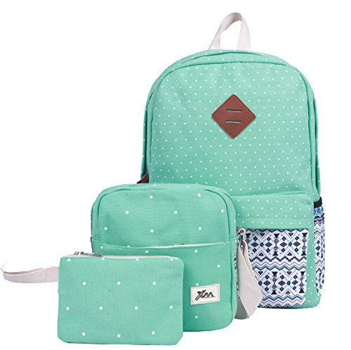 HONEYJOY Canvas Backpack Set 3 Pieces Kids Book Bag School Backpack Handbag Purse Girls Teen (Large, Light Green)