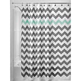 InterDesign Chevron Shower Curtain, 72 x 72, Gray/Aruba