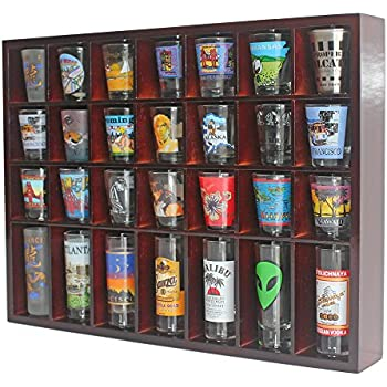 28 Shot Glass Shooter Display Case Holder Cabinet Rack, Solid Wood, NO Door,  Wall Mount, Mahogany Finish Part 43