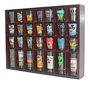 28 Shot Glass Shooter Display Case Holder Cabinet Rack, solid wood, NO Door, Wall Mount, Mahogany Finish by DisplayGifts
