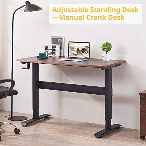 Smile Back Manual Standing Desk Hand Crank Height Adjustable Desk 48 x 24 Inch Workstation Sit Stand Desk Stand Up Desk