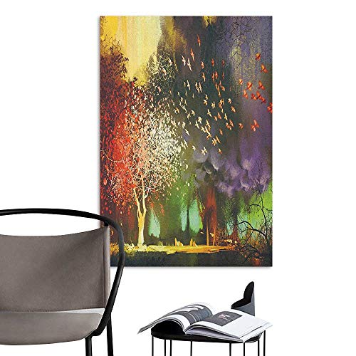 Retro Poster Decorative Painting Fantasy Fairy Forest with Mysterious Trees and Birds Supernatural Vivid Wonder World Yellow Purple 3D Bathroom Decal W20 x H28 - Stick Natural Coco Frame