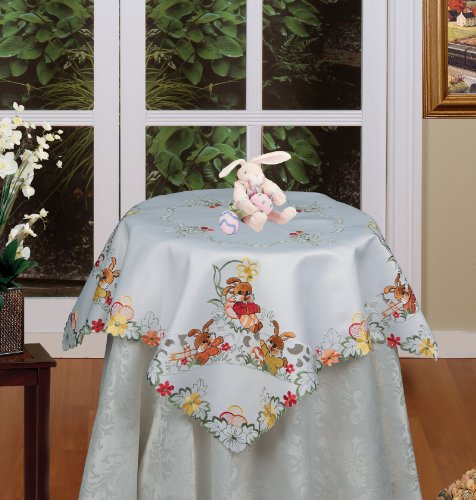 Creative Linens Embroidered Easter Bunny Egg Floral Tableclo