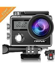 Campark X20 Action Cam 4K Ultra HD 20MP Touchscreen WiFi Fernbedienung EIS Anti-Shaking Unterwasserkamera wasserdichte 30M mit 170 ° Weitwinkel Verstellbar und Zubehör-Kits