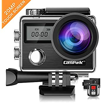 Campark Action Camera X20 4K 20MP Touch Screen Waterproof Video Cam SONY Sensor Underwater Camcorder with EIS, Dual Screen, Remote Control