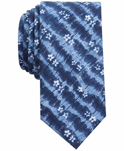Print Tie Dye Tie - Bar III Men's Indigo Tie Dye Print Skinny Tie (One Size, Navy)