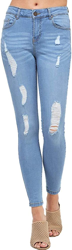 ICONICC Women's Butt Lifting Skinny Jeans Destroyed and Ripped Stretch Denim Jp1033n_light